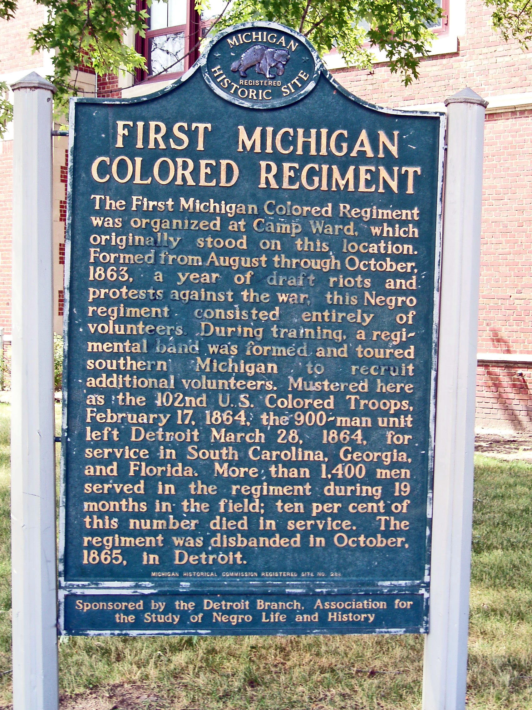 1864 : First Michigan Colored Infantry Mustered Into Service